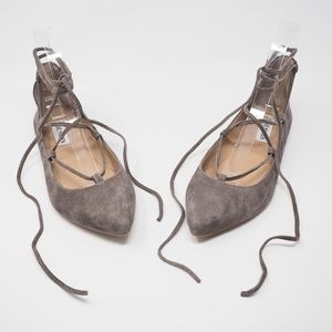 Steve Madden Eleanorr Lace Up Flats Taupe Size 6.5